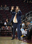 Long Beach State 49ers assistant coach Bobby Braswell gestures during an NCAA basketball game against the Southern California Trojans  in Los Angeles, Nov 28, 2018. USC defeated Long Beach State 75-65.