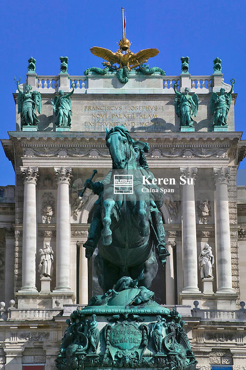 A statue outside the Hofburg Complex (Imperial Palace) depicts Prince Eugene of Savoy astride a rampant horse, Vienna, Austria