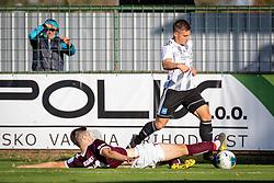 Žan Kumer of Triglav and Klemen Šturm of Mura  during football match between NŠ Mura and Nk Triglav in 14th Round of Prva liga Telekom Slovenije 2019/20, on October 19, 2019 in Fazanerija, Murska Sobota, Slovenia. Photo by Blaž Weindorfer / Sportida