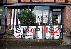 © Licensed to London News Pictures. 27/01/2012. Wendover, UK. An anti HS2 (High Speed Rail 2) sign in the village of Wendover, Buckinghamshire. Scheduled to be completed by 2033, the new Rail system will have huge effects on the traditional English town. Photo credit : Ben Cawthra/LNP