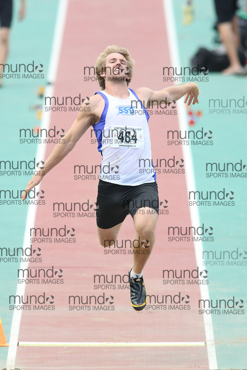 (Sherbrooke, Quebec---10 August 2008) Dustin Haenni competing in the youth octathlon long jump at the 2008 Canadian National Youth and Royal Canadian Legion Track and Field Championships in Sherbrooke, Quebec. The photograph is copyright Sean Burges/Mundo Sport Images, 2008. More information can be found at www.msievents.com.