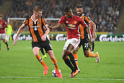 Hull City midfielder Sam Clucas (11) and Manchester United player Marcus Rashford (19)  during the Premier League match between Hull City and Manchester United at the KCOM Stadium, Kingston upon Hull, England on 27 August 2016. Photo by Ian Lyall.