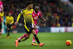 Etienne Capoue of Watford under pressure from Benik Afobe of Bournemouth - Mandatory byline: Jason Brown/JMP - 27/02//2016 - FOOTBALL - Vicarage Road - Watford, England - Watford v Bournemouth - Barclays Premier League
