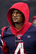 HOUSTON, TX - AUGUST 29:  Deshaun Watson #4 of the Houston Texans walks onto the field before a game against the Los Angeles Rams during week four of the preseason at NRG Stadium on August 29, 2019 in Houston, Texas. The Rams defeated the Texans 22-10.   (Photo by Wesley Hitt/Getty Images) *** Local Caption *** Deshaun Watson