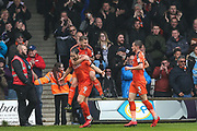 Luton Town's Danny Hylton scores a goal 1-0 and celebrates during the EFL Sky Bet League 2 match between Luton Town and Forest Green Rovers at Kenilworth Road, Luton, England on 28 April 2018. Picture by Shane Healey.