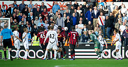 SWANSEA, WALES - Sunday, March 11, 2012: Manchester City's goalkeeper Joe Hart goes up for a corner in injury time against Swansea City during the Premiership match at the Liberty Stadium. (Pic by David Rawcliffe/Propaganda)