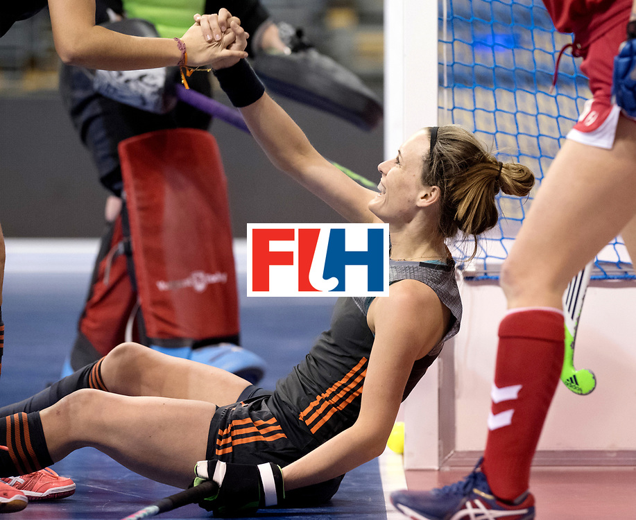 BERLIN - Indoor Hockey World Cup<br /> Women: Netherlands - United States<br /> foto: Donja Zwinkels celebrates her goal.<br /> WORLDSPORTPICS COPYRIGHT FRANK UIJLENBROEK