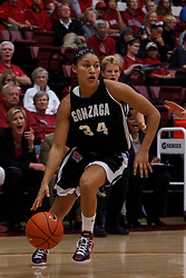 Nov 13, 2011; Stanford CA, USA;  Gonzaga Bulldogs guard Jazmine Redmon (34) dribbles the ball against the Stanford Cardinal during the first half at Maples Pavilion.  Mandatory Credit: Jason O. Watson-US PRESSWIRE
