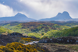 Mountains Canisp (L) and Suilven in Inverpolly and  the North Coast 500 scenic driving route in northern Scotland, UK