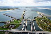 Nederland, Zeeland, Philipsdam, 23-10-2013; Krammersluizen onderdeel van de Schelde-Rijnverbinding. De sluizen bevinden zicht tussen het zoete water van het  Volkerak en het zoute water de Oosterschelde (via de Krammer).  Grevelingendam in de achtergrond.<br /> Philipsdam with Krammersluizen, part of the Delta Works.<br /> luchtfoto (toeslag op standaard tarieven);<br /> aerial photo (additional fee required);<br /> copyright foto/photo Siebe Swart.