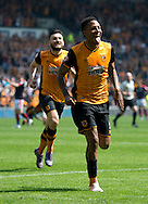 Abel Hernandez of Hull City (right) celebrates after scoring his team's 2nd goal to make it 2-1 during the Sky Bet Championship match at KC Stadium, Hull<br /> Picture by Russell Hart/Focus Images Ltd 07791 688 420<br /> 07/05/2016