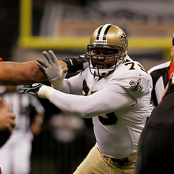2009 August 14: New Orleans Saints defensive tackle Rod Coleman (75) rushes the quarterback during a preseason opener between the Cincinnati Bengals and the New Orleans Saints at the Louisiana Superdome in New Orleans, Louisiana.