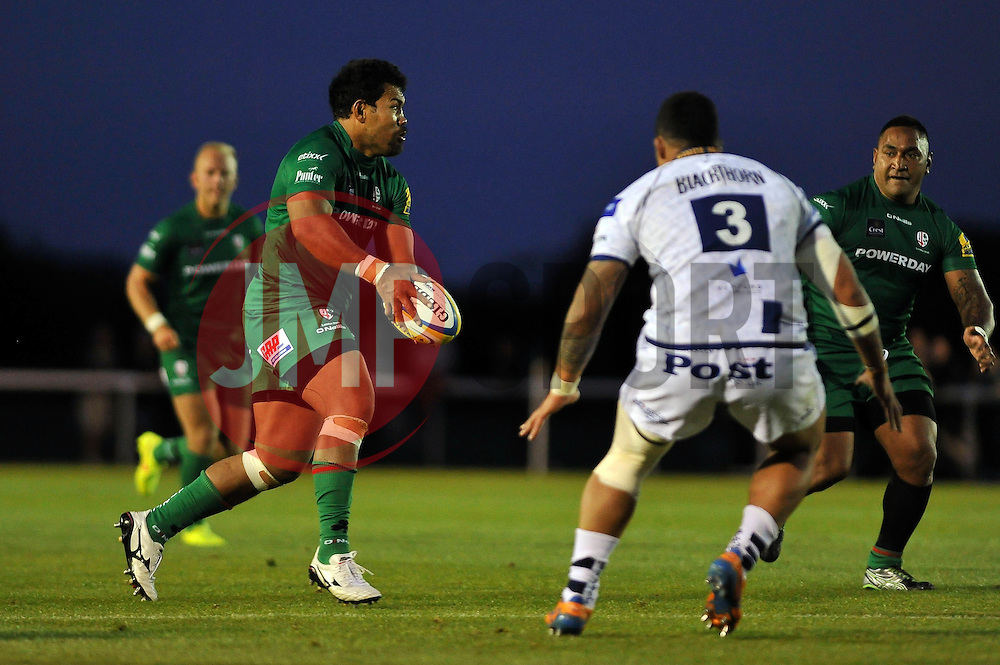 Ofisa Treviranus (London Irish) in possession - Photo mandatory by-line: Patrick Khachfe/JMP - Mobile: 07966 386802 22/08/2014 - SPORT - RUGBY UNION - Middlesex - Hazelwood - London Irish v Bristol Rugby - Pre-Season Friendly