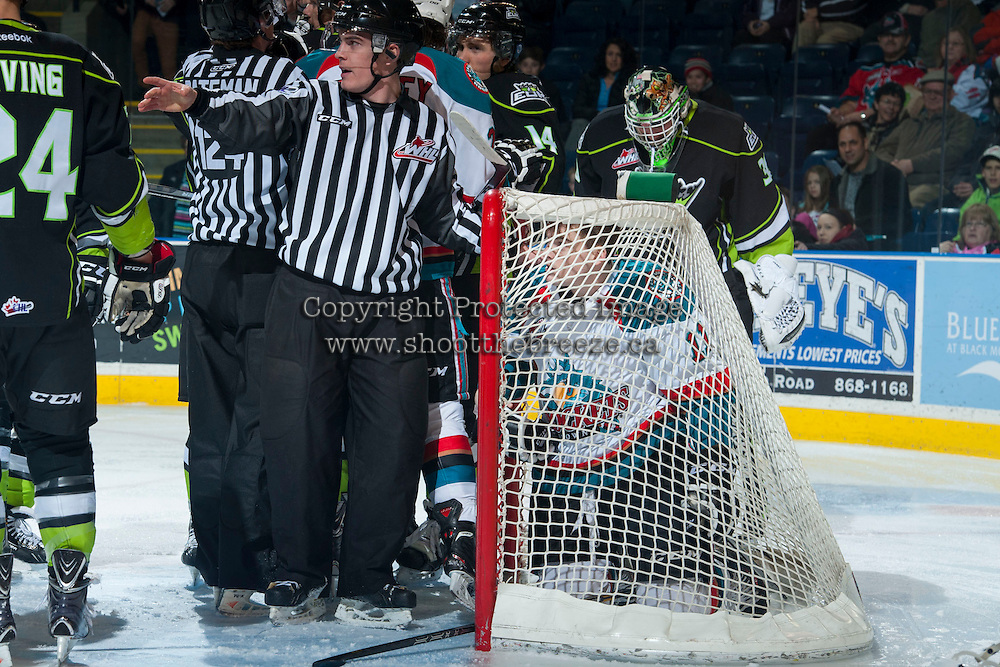 KELOWNA, CANADA -FEBRUARY 7: Carter Rigby #11 of the Kelowna Rockets gets trapped in the visitors net during first period against the Edmonton Oil Kings on February 7, 2014 at Prospera Place in Kelowna, British Columbia, Canada.   (Photo by Marissa Baecker/Getty Images)  *** Local Caption *** Carter Rigby;