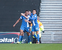 Peterborough United's Britt Assombalonga (9) celebrates after scoring a goal   - Photo mandatory by-line: Nigel Pitts-Drake/JMP - Tel: Mobile: 07966 386802 15/03/2014 - SPORT - FOOTBALL -  Stadium MK - Milton Keynes - Milton Keynes Dons v Peterborough United - Sky Bet League One