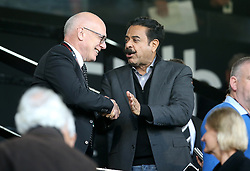 Shahid Khan, chairman of Fulham and Melvyn Morris, chairman of Derby County shake hands before the match - Mandatory by-line: Paul Terry/JMP - 14/05/2018 - FOOTBALL - Craven Cottage - Fulham, England - Fulham v Derby County - Sky Bet Championship Play-off Semi-Final