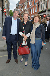 Left to right, PETER ROBINSON, LULU GUINNESS and SANDRA ROBINSON at a private view of work & workings of Nic Fiddian Green - The Studio held at Sladmore Contemporary, 32 Bruton Place, London on 9th June 2015.