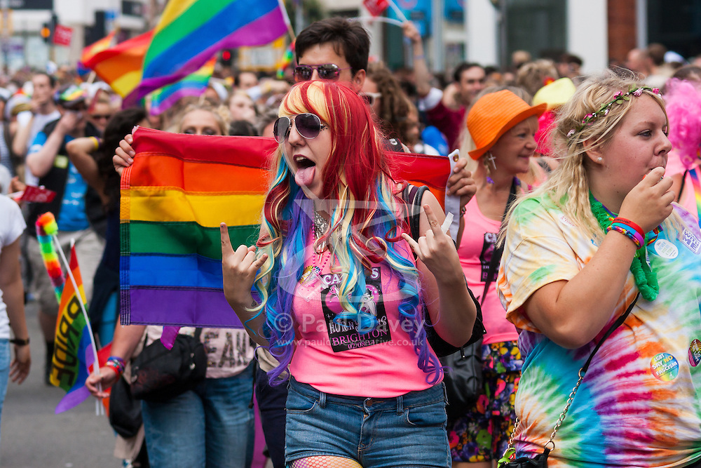 Brighton, August 2nd 2014. Brighton Pride's procession makes its way through the city's streets.
