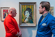 Amy Winehouse by Dan Llywelyn Hall (pictured in blue)  - The 30th London Art Fair 2018 at the Business Design Centre, Islington.