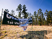 "04 JUNE 2011 - EAGAR, AZ: A sign announces that Greer days has been cancelled because of the Wallow Fire. The fire grew to more than 140,000 acres early Saturday with zero containment. A ""Type I"" incident command team has taken command of the fire. PHOTO BY JACK KURTZ"