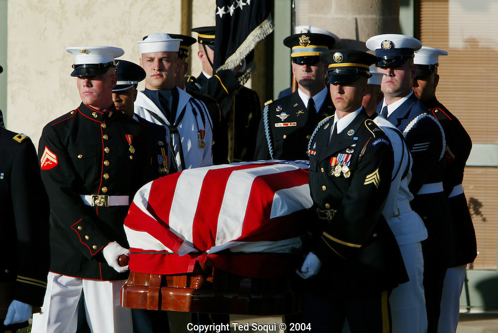 The casket of Ronald Reagan arrives for his funeral carried by the US Honor Guard..Ronald Reagan Presidential Library..Simi Valley, CA 6/11/04.