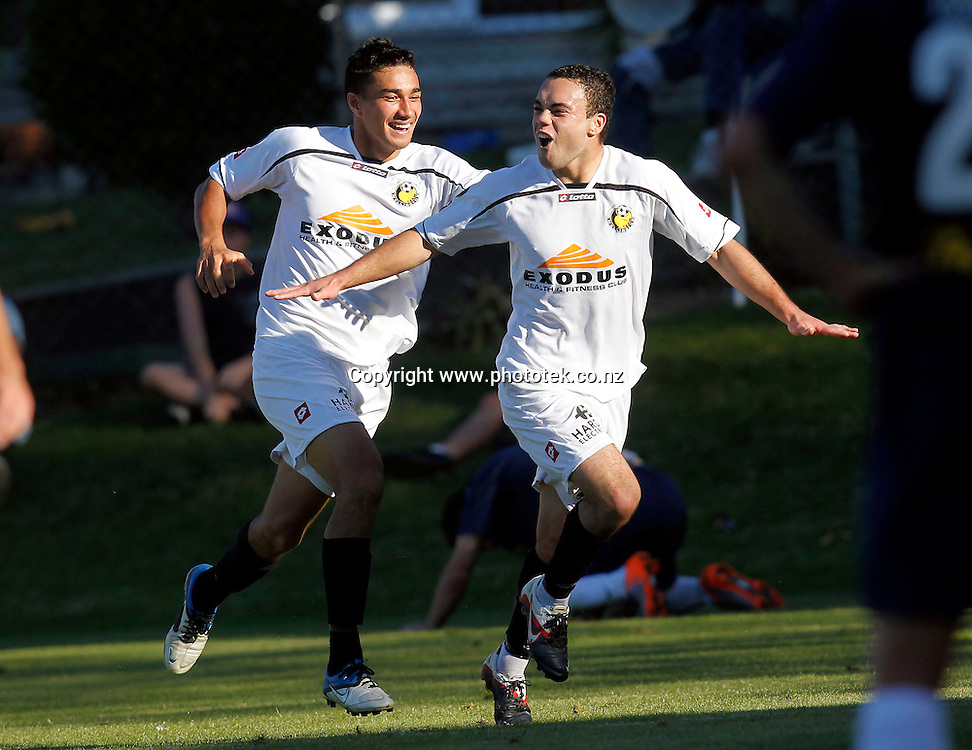 Wellington's Dakota Lucas celebrates scoring his 1st goal. ASB Premiership 2nd Leg Semi Finals, Auckland City FC v Team Wellington, Kiwitea Street Auckland, Sunday 22nd April 2012. Photo: Shane Wenzlick