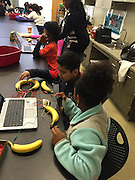 Students from Milne ES are playing on piano they built with bananas for keys.
