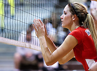 Jessica Gaffney, Senior middle and outside hitter for Great Oak High School, at the net in a league match up between Great Oak and Temecula Valley held at Temecula Valley High School.  Image Credit: Amanda Schwarzer