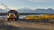 Cruz Construction articulated truck working on the Denali State Park campground project. (Casey Shade photo)