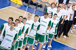 Erazem Lorbek (15) of Slovenia, Jurica Golemac (14) of Slovenia, Domen Lorbek (13) of Slovenia, Goran Jagodnik (12) of Slovenia, Goran Dragic (11) of Slovenia, Bostjan Nachbar (10) of Slovenia, Jaka Klobucar (9) of Slovenia, Primoz Brezec (7) of Slovenia, Samo Udrih (6) of Slovenia, Jaka Lakovic (5) of Slovenia, Uros Slokar (4) of Slovenia and Matjaz Smodis (8) of Slovenia listening to the national anthem during the EuroBasket 2009 Group F match between Slovenia and Turkey, on September 16, 2009 in Arena Lodz, Hala Sportowa, Lodz, Poland.  (Photo by Vid Ponikvar / Sportida)