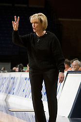 Virginia Cavaliers Head Coach Debbie Ryan calls a play in action against Charlotte.  The Virginia Cavaliers women's basketball team defeated The University of North Carolina - Charlotte 49ers 74-72 in the 2nd round of the Women's NIT at John Paul Jones Arena in Charlottesville, VA on March 19, 2007.