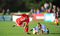 Gemma Evans of Bristol City is fouled by Hanna Godfrey of Tottenham Hotspur Women- Mandatory by-line: Nizaam Jones/JMP - 27/10/2019 - FOOTBALL - Stoke Gifford Stadium - Bristol, England - Bristol City Women v Tottenham Hotspur Women - Barclays FA Women's Super League