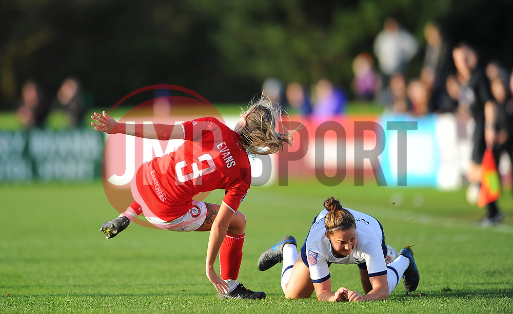 Gemma Evans of Bristol City is fouled by Hanna Godfrey of Tottenham Hotspur Women- Mandatory by-line: Nizaam Jones/JMP - 27/10/2019 - FOOTBALL - Stoke Gifford Stadium - Bristol, England - Bristol City Women v Tottenham Hotspur Women - Barclays FA Women's Super League
