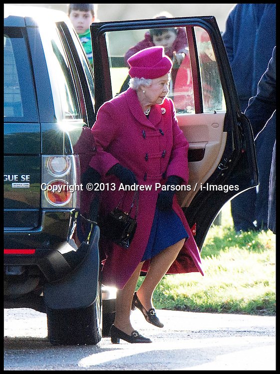 HM The Queen attends a church service on the Sandringham estate in Norfolk, United Kingdom. Sunday, 22nd December 2013. The Royal Family will spend Christmas at Sandringham. Picture by Andrew Parsons / i-Images