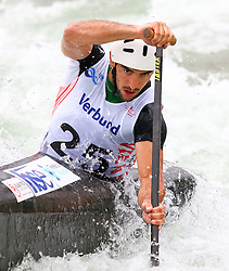 27.06.2015, Verbund Wasserarena, Wien, AUT, ICF, Kanu Wildwasser Weltmeisterschaft 2015, C1 men, im Bild  Blaz Cof (SLO) // during the final run in the men's C1 class of the ICF Wildwater Canoeing Sprint World Championships at the Verbund Wasserarena in Wien, Austria on 2015/06/27. EXPA Pictures © 2014, PhotoCredit: EXPA/ Sebastian Pucher