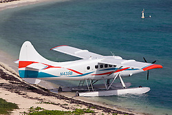 Sea plane on a beach, Garden Key, Dry Tortugas National Park, Florida, United States of America