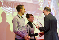Mitja Kosovelj, Mateja Kosovelj and Tomo Sarf during the Slovenia's Athlete of the year award ceremony by Slovenian Athletics Federation AZS, on November 12, 2008 in Hotel Mons, Ljubljana, Slovenia.(Photo By Vid Ponikvar / Sportida.com) , on November 12, 2010.