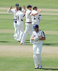 Dejection for Yorkshire's Jonny Baristow after being dismissed. Photo mandatory by-line: Harry Trump/JMP - Mobile: 07966 386802 - 27/05/15 - SPORT - CRICKET - LVCC County Championship - Division 1 - Day 4 - Somerset v Yorkshire - The County Ground, Taunton, England.