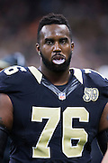 NEW ORLEANS, LA - NOVEMBER 13:  Tony Hills #76 of the New Orleans Saints on the sidelines during a game against the Denver Broncos at Mercedes-Benz Superdome on November 13, 2016 in New Orleans, Louisiana.  The Broncos defeated the Saints 25-23.  (Photo by Wesley Hitt/Getty Images) *** Local Caption *** Tony Hills