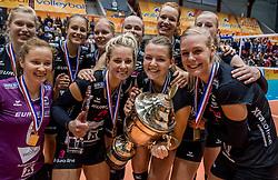 02-10-2016 NED: Supercup VC Sneek - Eurosped, Doetinchem<br /> Eurosped wint de Supercup door Sneek met 3-0 te verslaan / Judith Kamphuis #3 of Eurosped, Rochelle Wopereis #12 of Eurosped, Daphne Knijff #7 of Eurosped, Kim de Wild #6 of Eurosped