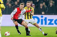 ROTTERDAM - Feyenoord - Vitesse , Voetbal , Eredivisie , Seizoen 2016/2017 , De Kuip , 16-12-2016 , Feyenoord speler Nicolai Jorgensen (l) in duel met Vitesse speler Maikel van der Werff (r)