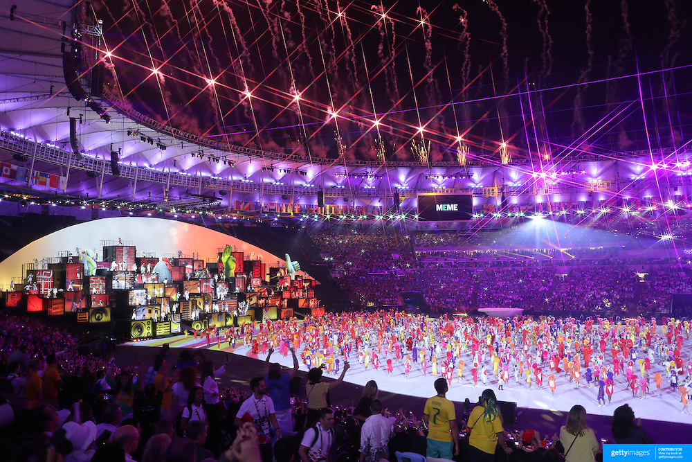 Opening Ceremony 2016 Olympic Games:  Maracana Stadium during the spectacular opening ceremony for the 2016 Olympic Games on August 5, 2016 in Rio de Janeiro, Brazil. (Photo by Tim Clayton/Corbis via Getty Images) (Note to editors: A special effects starburst filter was used in the creation of this image)