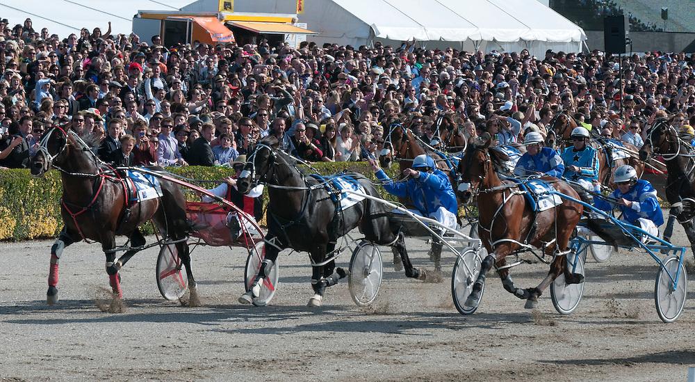 Ricky May drives Terror To Love, outside,  to win the Christchurch Casino New Zealand Trotting Cup at Addington Raceway, Christchurch, New Zealand, Tuesday, November, 13, 2011. Credit: SNPA / David Alexander.