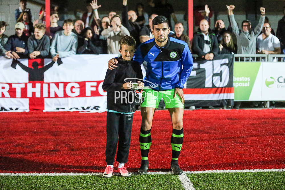 Forest Green Rovers Omar Bugiel(11) receives last years player of the season from Worthing Supporters club during the Pre-Season Friendly match between Worthing FC and Forest Green Rovers at Woodside Road, Worthing, Uni on 1 August 2017. Photo by Shane Healey.