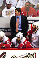 Apr 23, 2010; Glendale, AZ, USA; Detroit Red Wings head coach Mike Babcock reacts during the third period of game five in the first round of the 2010 Stanley Cup Playoffs at Jobing.com Arena.  The Red Wings defeated the Coyotes 4-1. Mandatory Credit: Jennifer Stewart-US PRESSWIRE