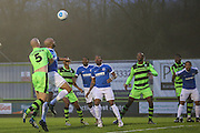 Forest Green Rovers Charlie Clough(5) heads the ball during the Vanarama National League match between Forest Green Rovers and Dover Athletic at the New Lawn, Forest Green, United Kingdom on 17 December 2016. Photo by Shane Healey.