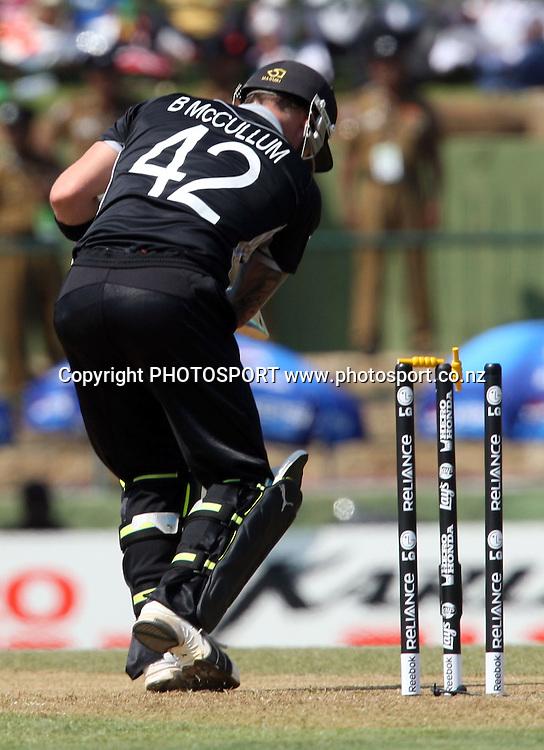 Brendon McCullum gets bowled by Shoaib Akhtar. ICC Cricket World Cup. New Zealand vs Paksitan. Pallekele Cricket Stadium, Kandy, Sri Lanka. Tuesday 8 March 2011. Photo: photosport.co.nz