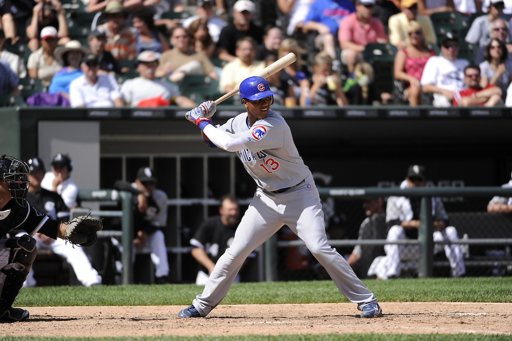 CHICAGO - JUNE 27:  Starlin Castro #13 of the Chicago Cubs bats against the Chicago White Sox on June 27, 2010 at U.S. Cellular Field in Chicago, Illinois.  The Cubs defeated the White Sox 8-6.  (Photo by Ron Vesely)