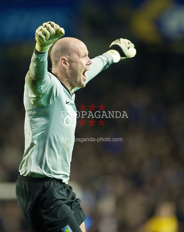 LIVERPOOL, ENGLAND - Sunday, December 7, 2008: Aston Villa's goalkeeper Brad Friedel celebrates his side's winning goal deep into injury time during the Premiership match at Goodison Park. (Photo by David Rawcliffe/Propaganda)