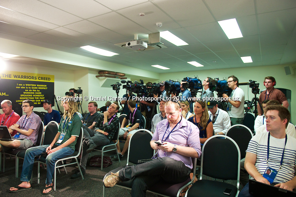 The listen on to Brendon McCullum (*c) of the New Zealand Black Caps during the press conference and training session on the 12th of November 2015. The New Zealand Black Caps tour of Australia, 2nd test at the WACA ground in Perth, 13 - 17th of November 2015.   Photo: Daniel Carson / www.photosport.nz